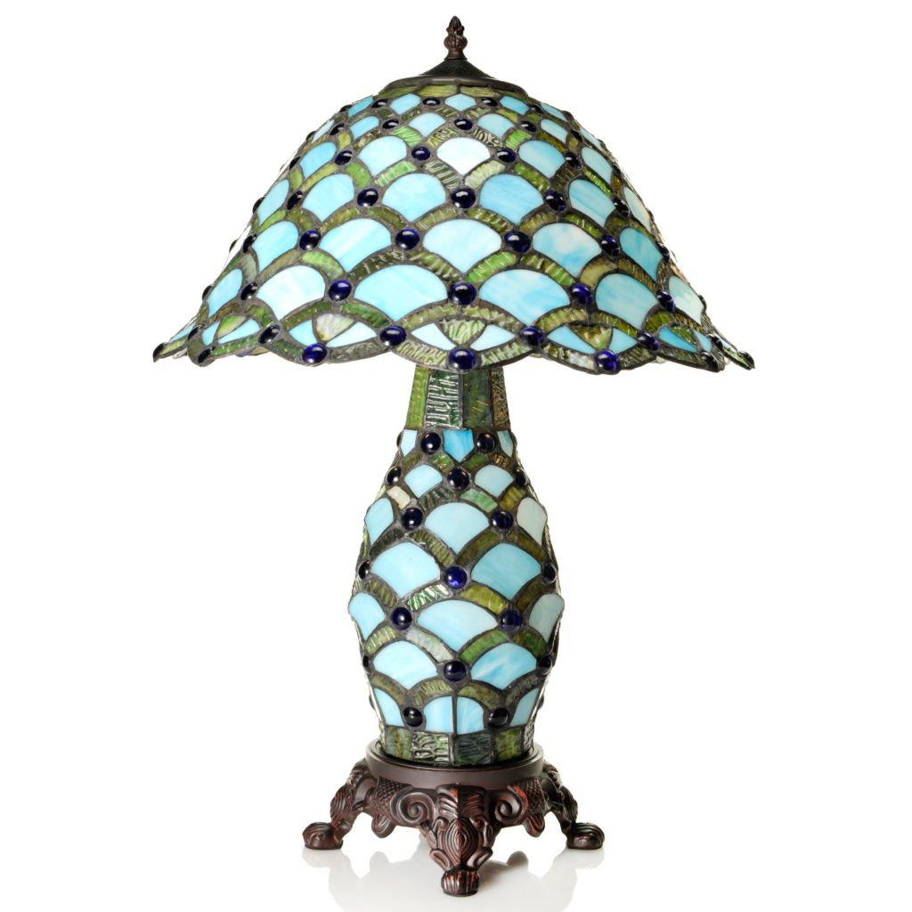 "444-516 - Tiffany-Style 25"" Scalloped Cabochon Double Lit Stained Glass Table Lamp"