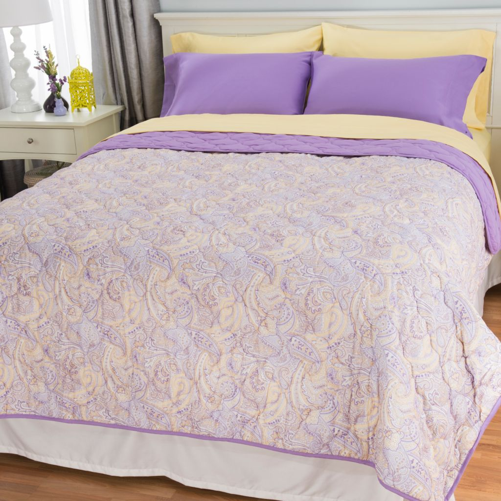 444-524 - Cozelle® 400TC Cotton/Poly Blend Six-Piece Sheet & Reversible Coverlet Set