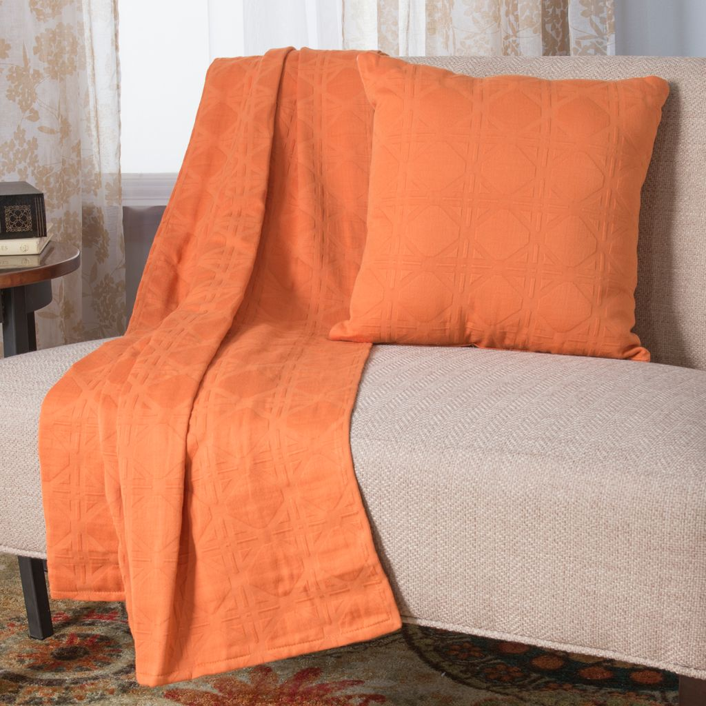 444-529 - Cozelle® Choice of Color 100% Cotton Matelassé Throw & Pillow