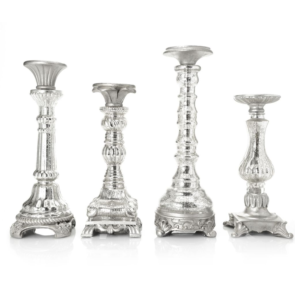 444-543 - Style at Home with Margie Arjean Four-Piece Mercury Glass Candlestick Set