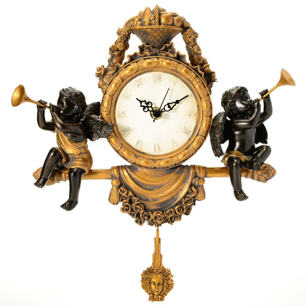 "444-548 - Style at Home with Margie 14"" ""Time for Cherubs"" Hand-Painted Wall Clock"