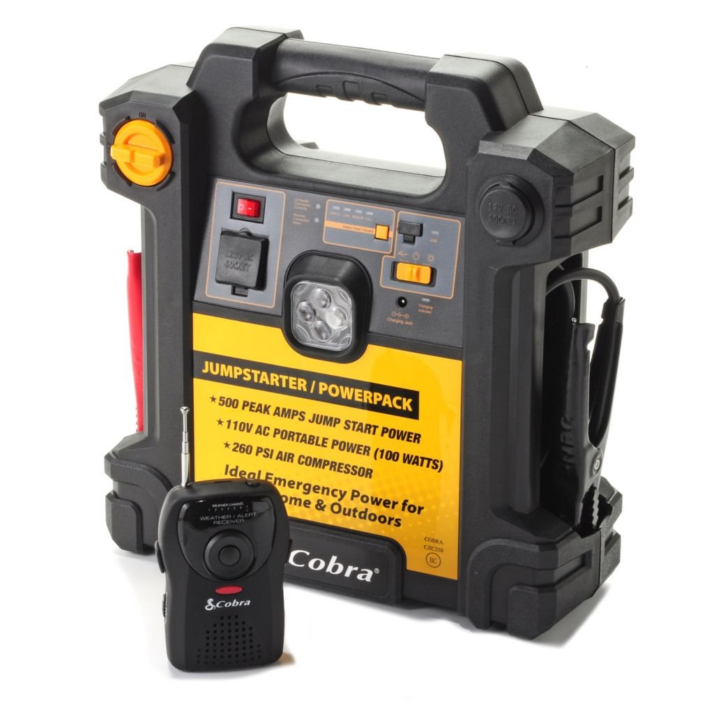444-634 - Cobra® 500 Amp Jumpstarter w/ Emergency Power & NOAA Weather Alert Radio Receiver