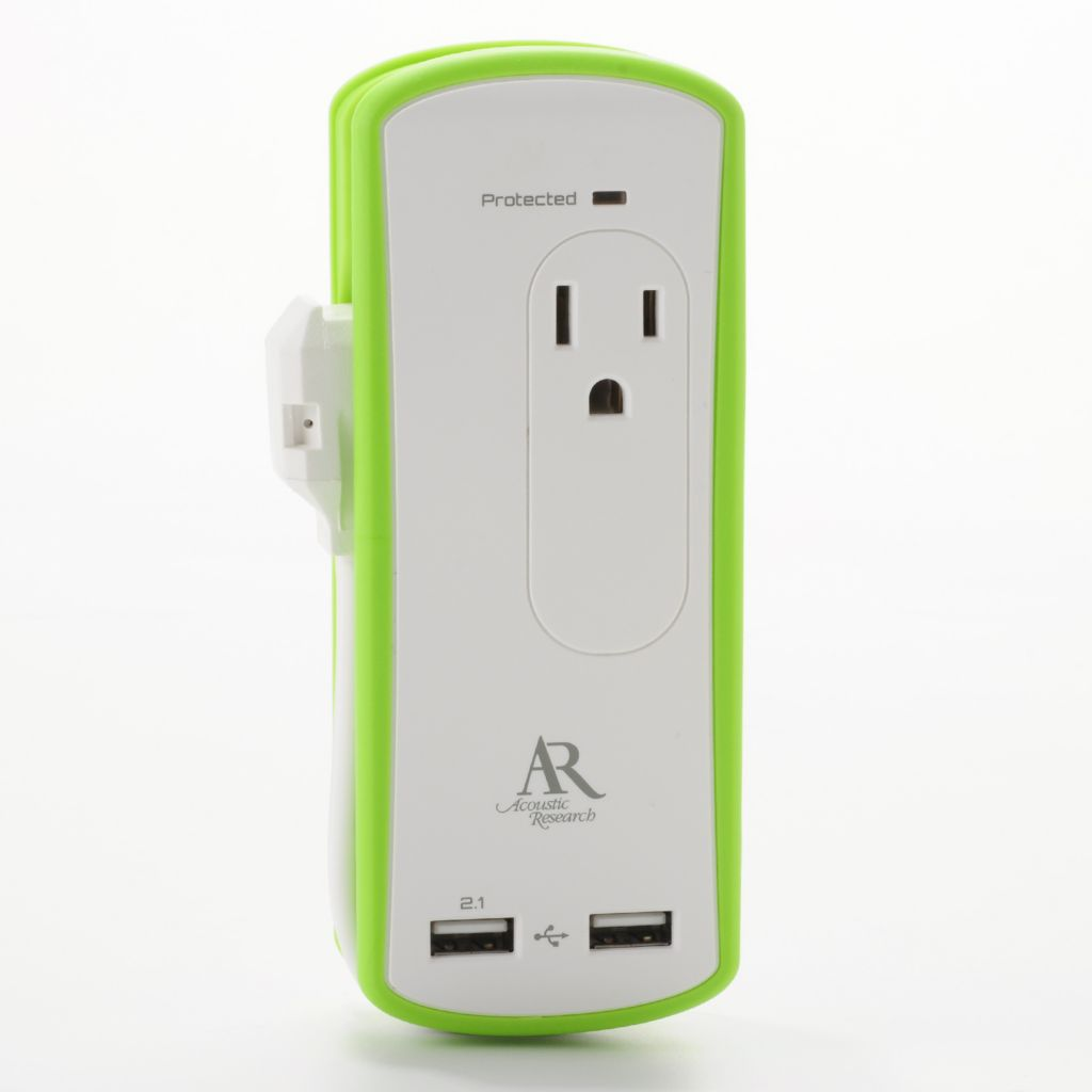 444-716 - Acoustic Research Two-Output Portable Surge Protector w/ Two USB Ports
