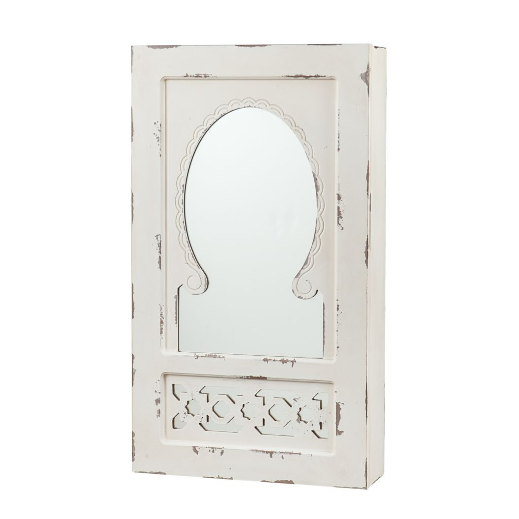 444-728 - Shabby Chic Wall Mount Jewelry Armoire & Mirror