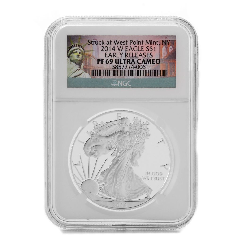 444-736 - 2014 $1 Silver Eagle Proof PF70 Ultra Cameo NGC West Point Early Release Coin