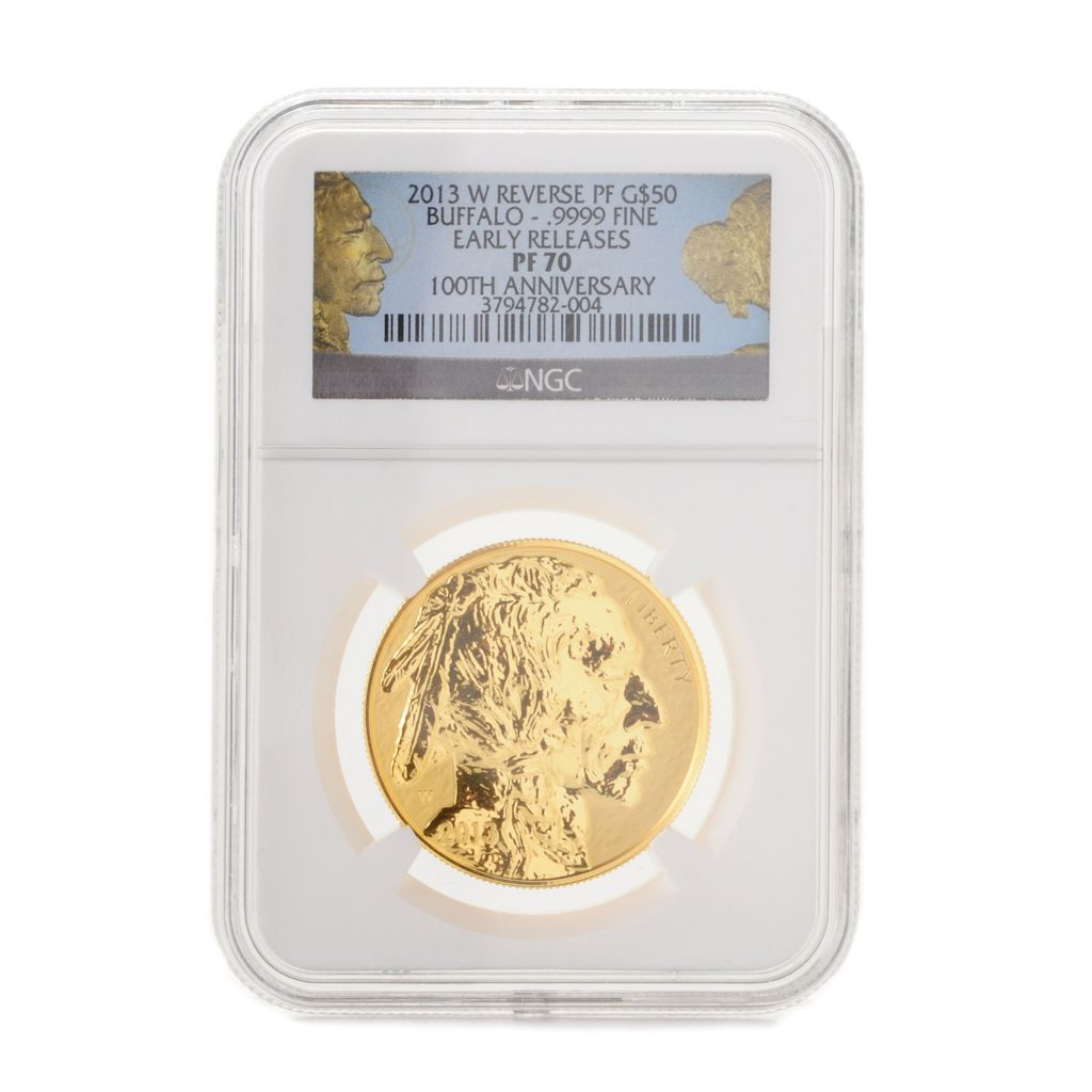 444-737 - 2013 $50 100th Anniversary Gold Buffalo Reverse Proof PF70 NGC West Point Early Release Coin