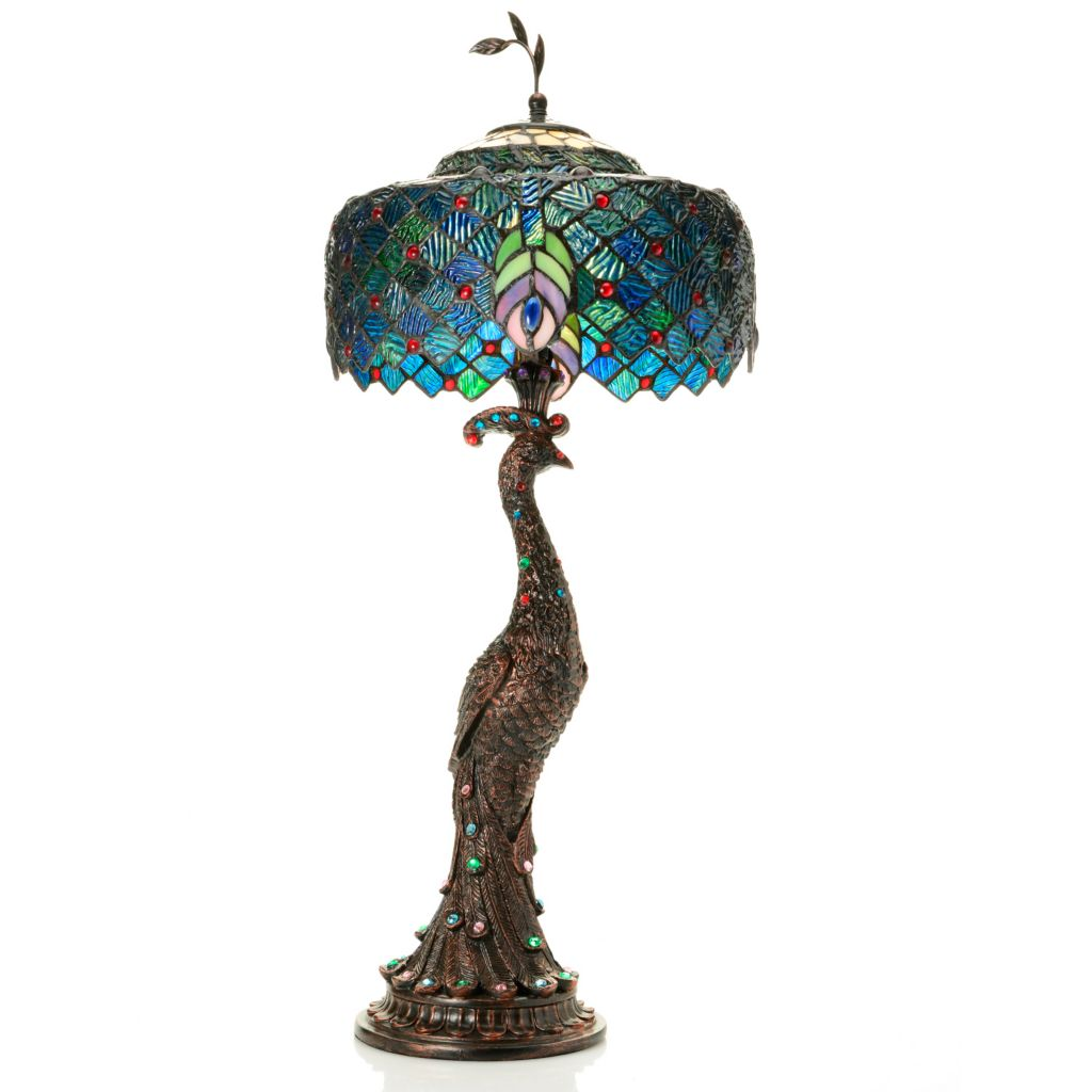 "444-743 - Tiffany-Style 29"" Jeweled Harlequin Peacock Stained Glass Table Lamp"