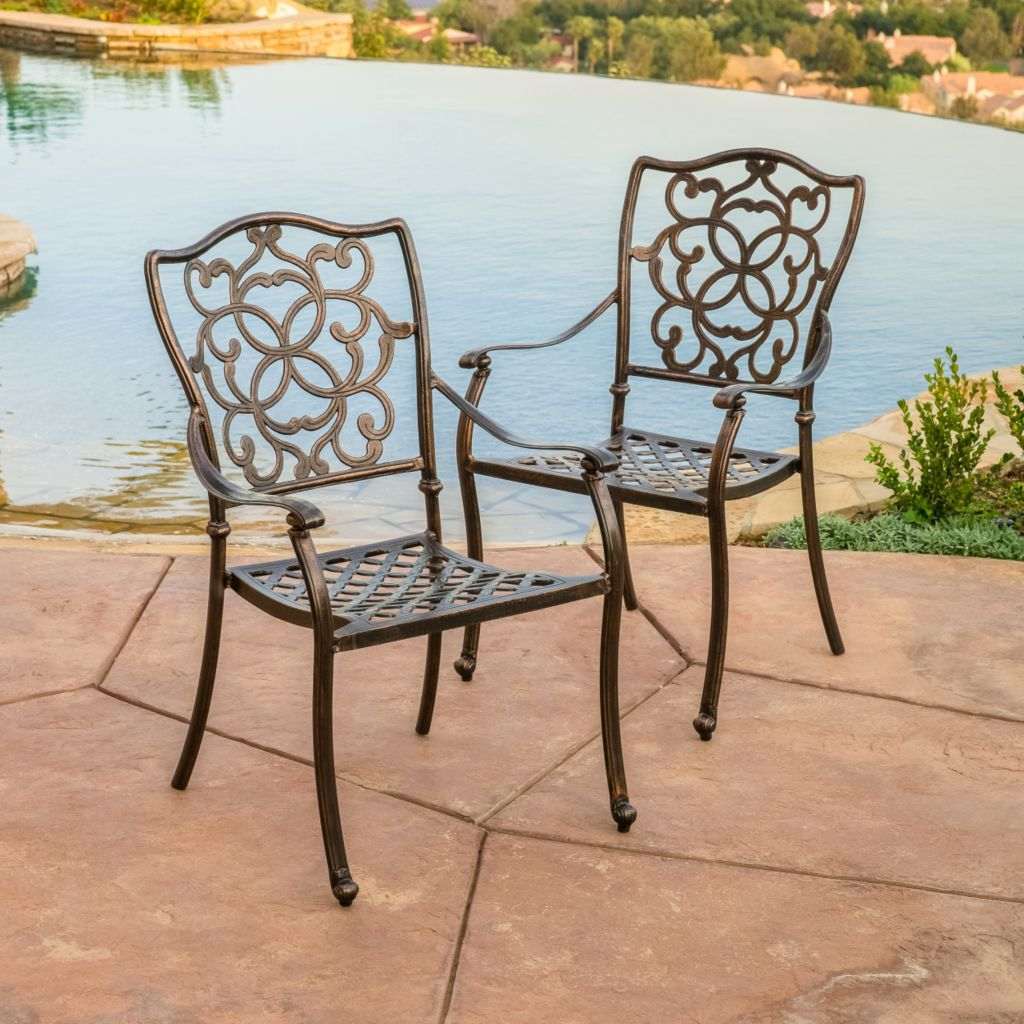 444-814 - Christopher Knight Home™ Delray Set of Two Cast Aluminum Copper Outdoor Dining Chairs