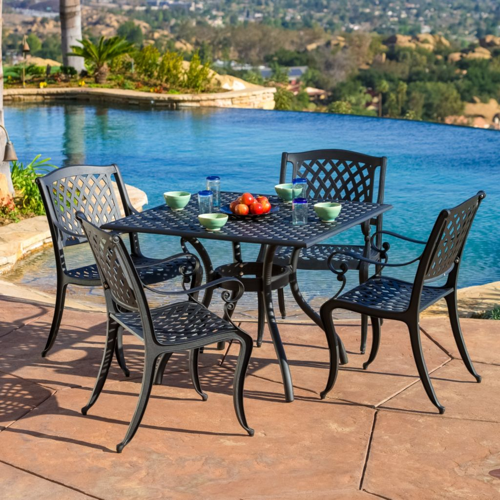 444-820 - Christopher Knight Home™ Hallandale Black Cast Aluminum Five-Piece Outdoor Dining Set