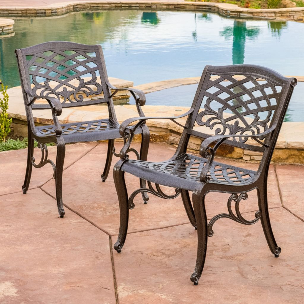 444-821 - Christopher Knight Home™ Sarasota Cast Aluminum Set of Two Bronze  Outdoor Dining Chairs