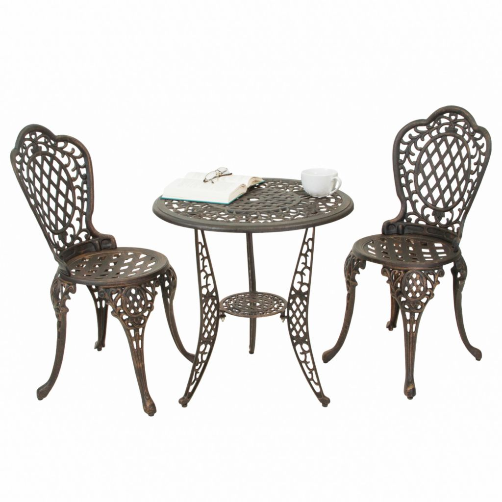 444-824 - Christopher Knight Home™ Cole Bronze Cast Aluminum Three-Piece Outdoor Bistro Set