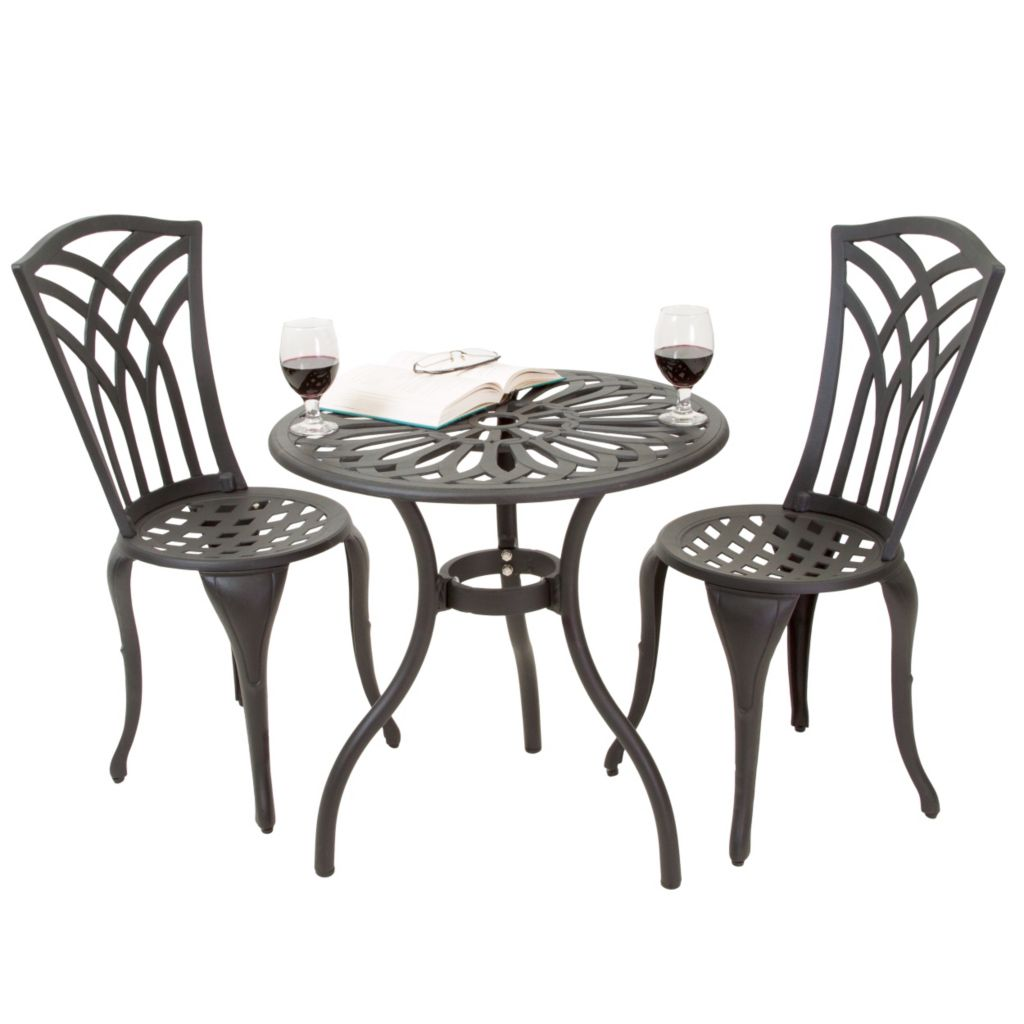 444-825 - Christopher Knight Home™ Sanders Three-Piece Black and Sand Cast Aluminum Outdoor Bistro Set