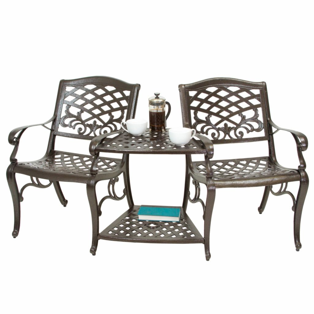 444-826 - Christopher Knight Home™ Sarasota Bronze Cast Aluminum Outdoor Double Chair
