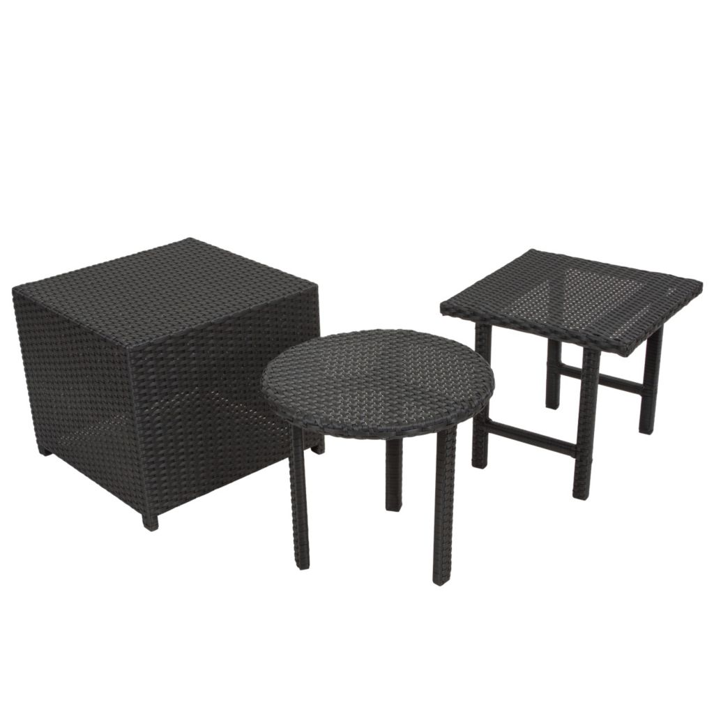 444-829 - Christopher Knight Home™ Danica Black Wicker Three-Piece Table Set