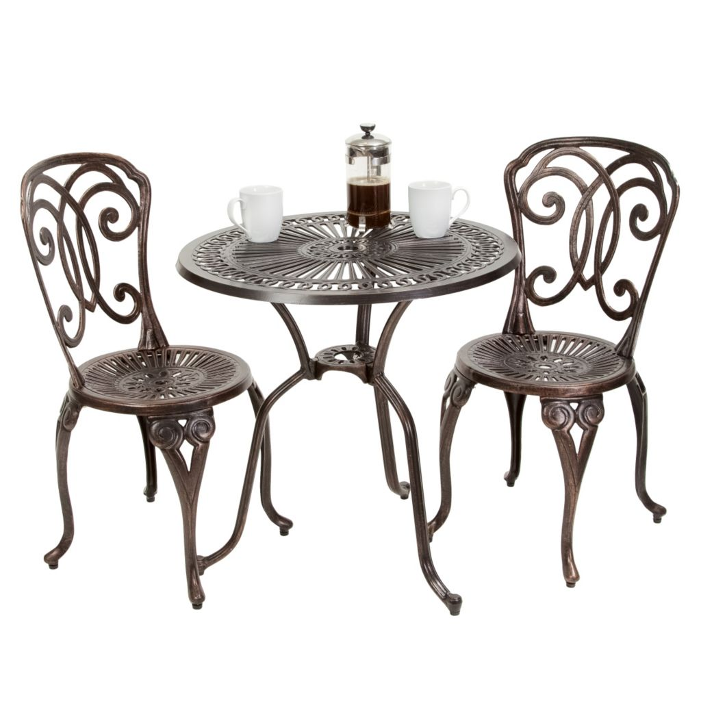 444-833 - Christopher Knight Home™ Cornwall Three-Piece Cast Aluminum Outdoor Bistro Set