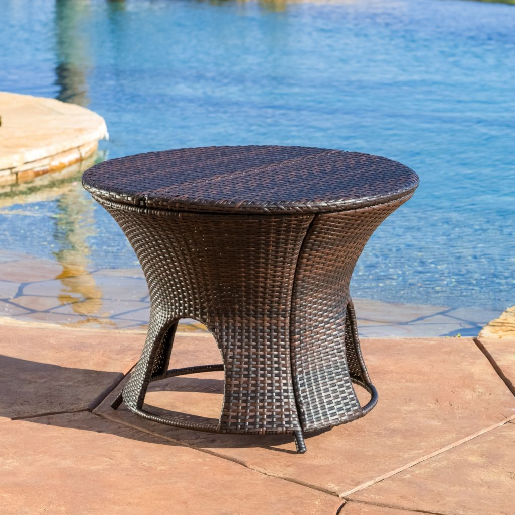 444-846 - Christopher Knight Home™ Rodolfo Wicker Outdoor Round Table w/ Storage Unit