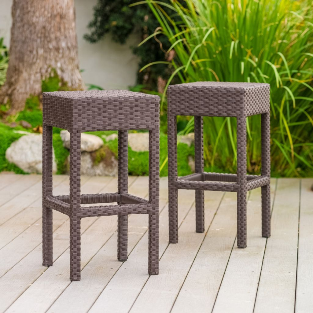 444-851 - Christopher Knight Home™ Milton Dark Brown Wicker Set of Two Bar Stools