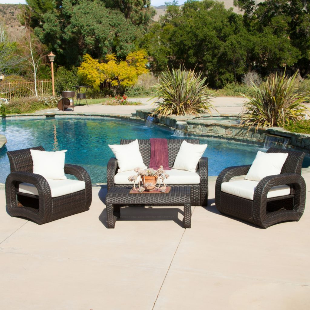 444-853 - Christopher Knight Home™ Medfield Four-Piece Outdoor Wicker Seating Set w/ Cushions