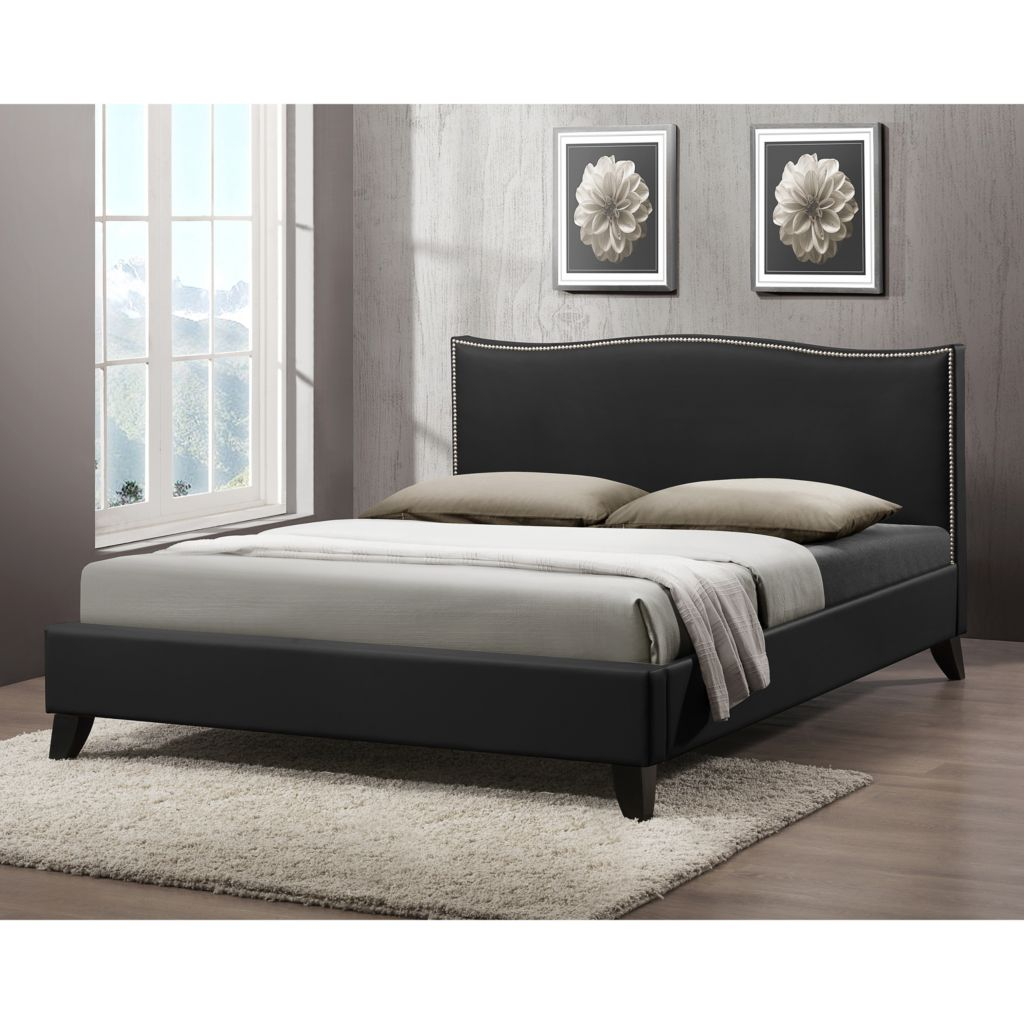 444-870 - Baxton Studio Battersby Modern Bed w/ Upholstered Headboard
