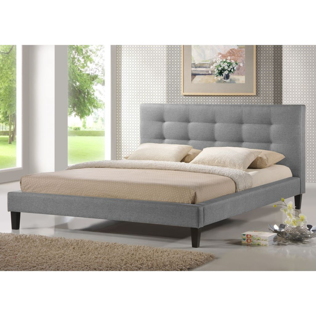 444-883 - Baxton Studio Quincy Grey Linen Platform Queen Bed