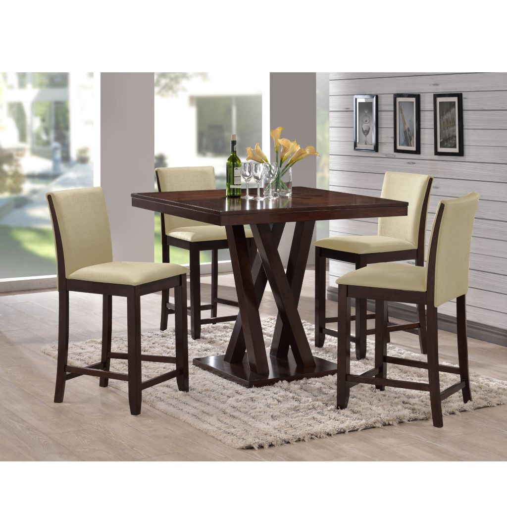 444-884 - Baxton Studio Everdon Dark Brown Five-Piece Modern Pub Table & Chairs