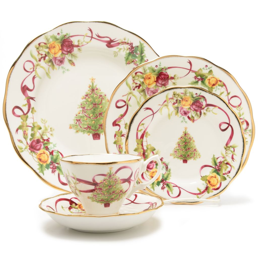 444-954 - Royal Albert® Holiday Five-Piece Bone China 22K Gold Plated Place Setting