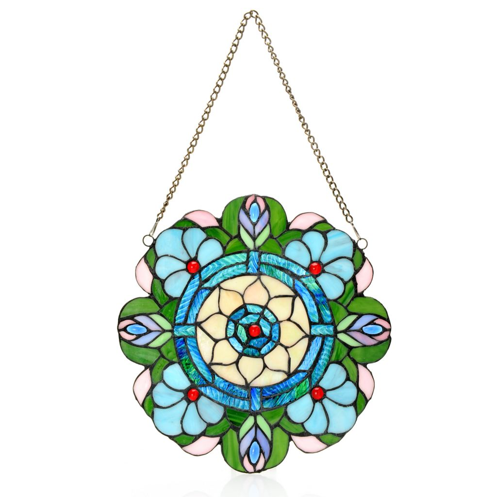 """445-000 - Tiffany-Style 12"""" Jeweled Harlequin Peacock Stained Glass Window Panel"""