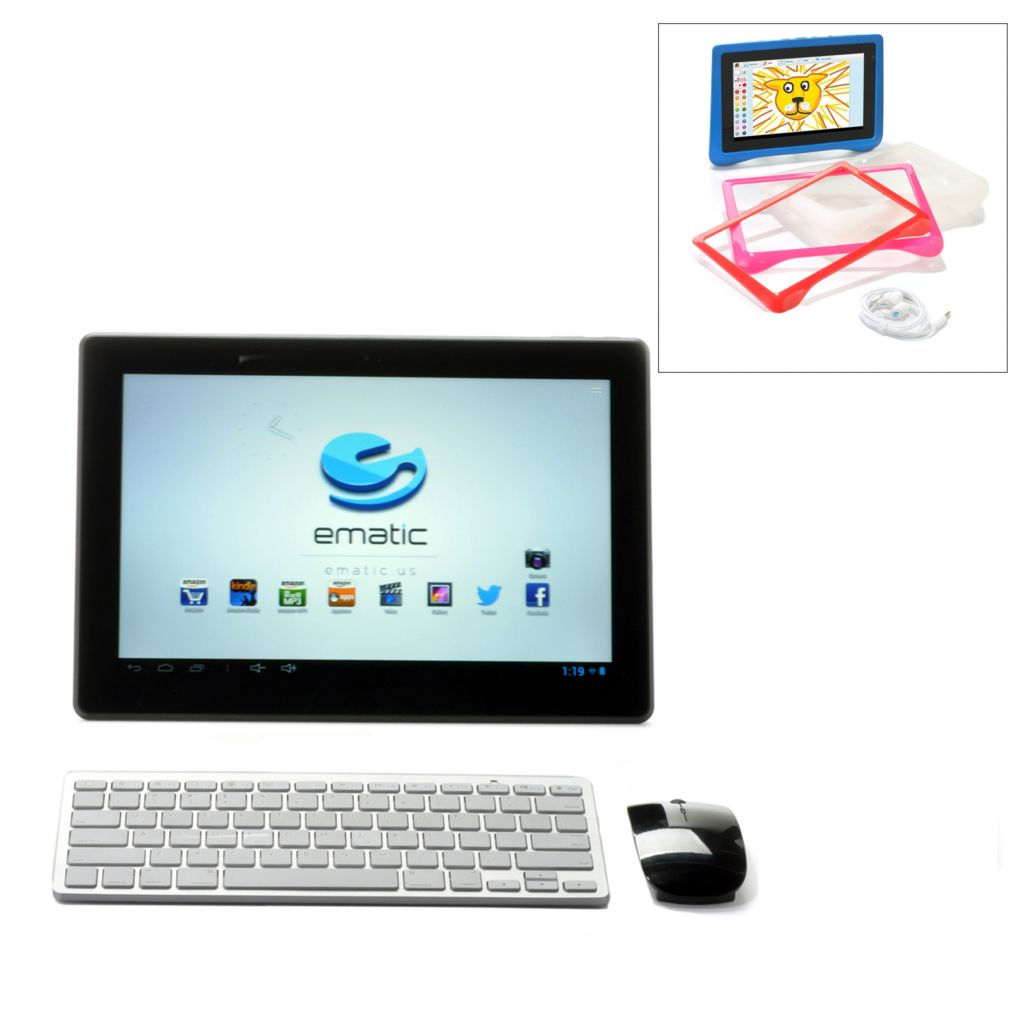 "445-003 - Ematic 13.3"" 8GB Dual-Core Cinema Tablet & FunTab 7"" Tablet w/ Accessories Kit"