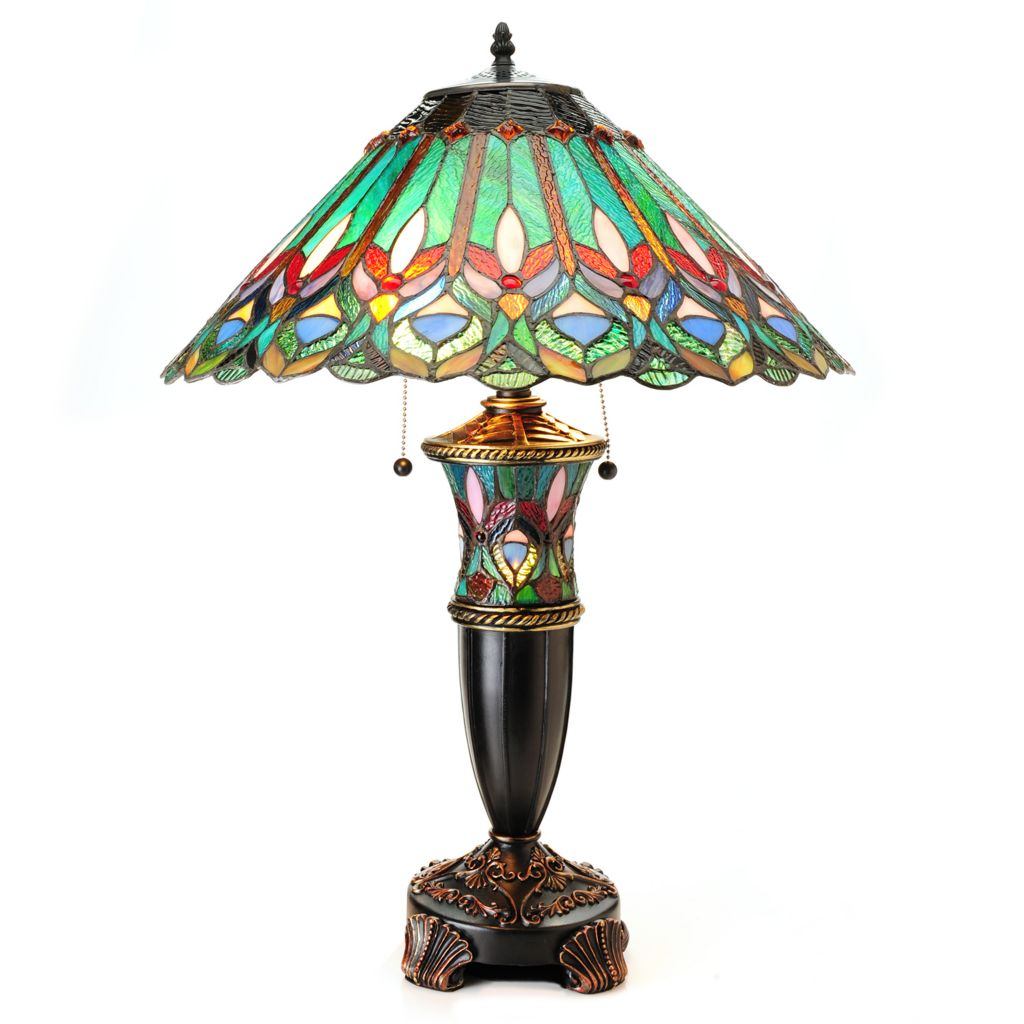 "445-008 - Tiffany-Style 28"" Green Ribbon Double Lit Stained Glass Table Lamp"