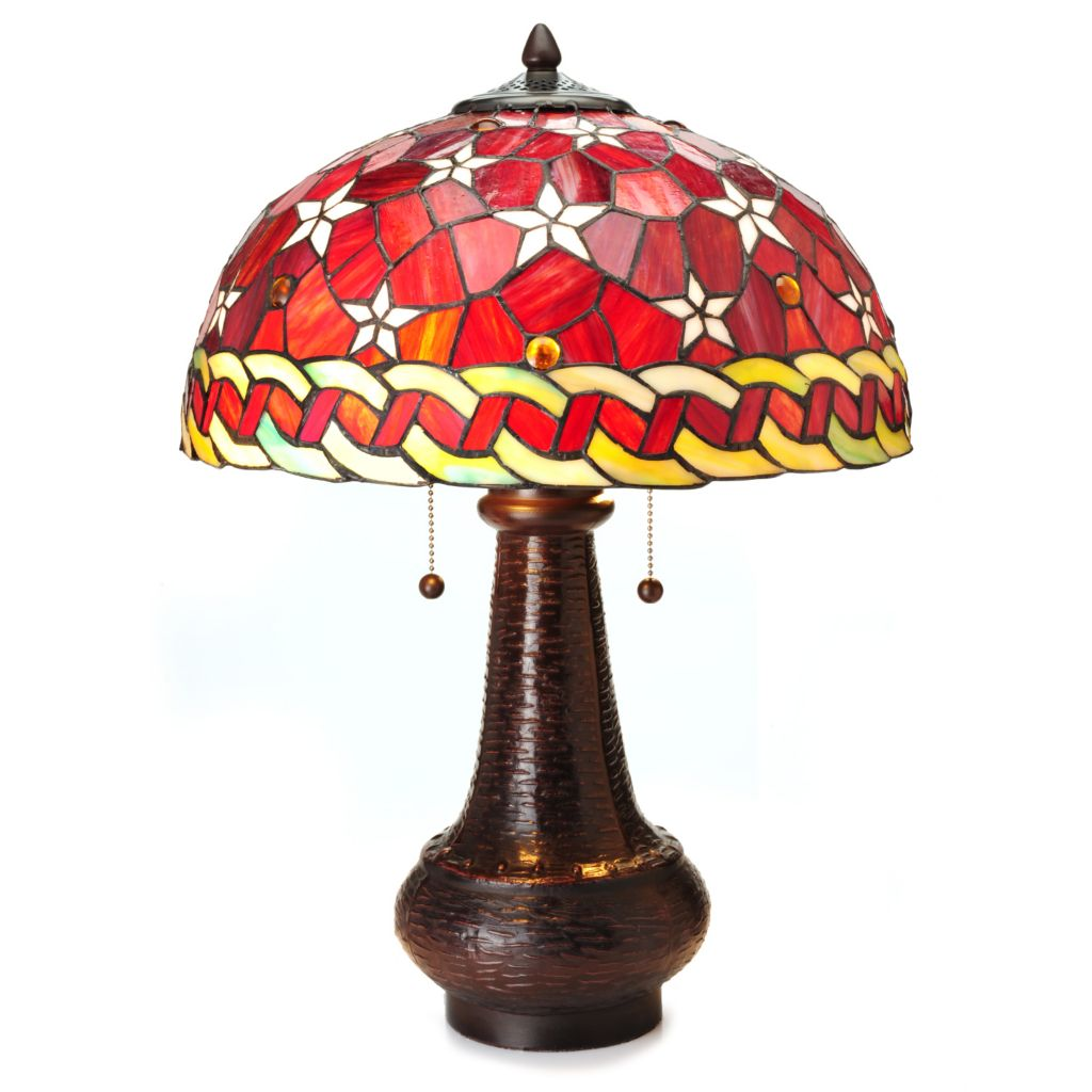 "445-012 - Tiffany-Style 22"" Red Star Dome Shaped Stained Glass Table Lamp"