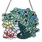 "445-027 - Tiffany-Style 13"" Fantastic Feodora Stained Glass Hanging Panel"