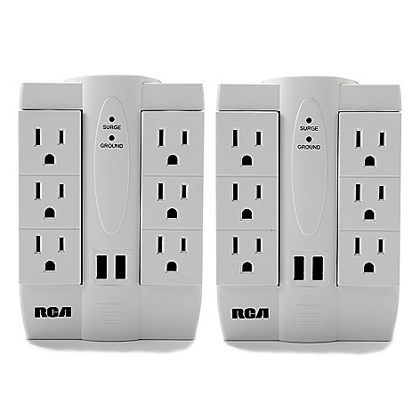 445-062 - RCA Set of Two Surge Protection Swivel Wall Taps w/ USB Ports & AC Outlets