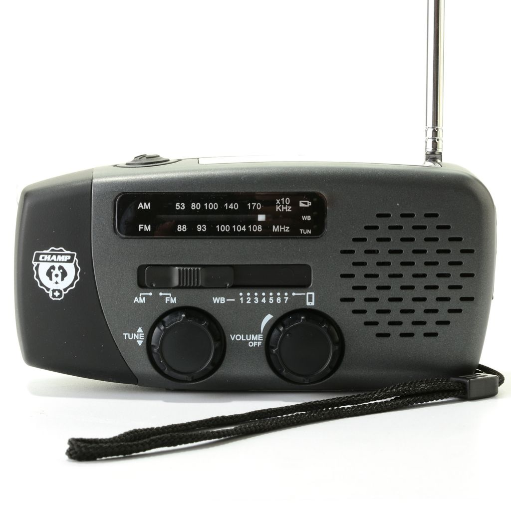 445-064 - Champ NOAA AM/FM Weather Radio & Charger w/ Solar Panel & Hand Crank