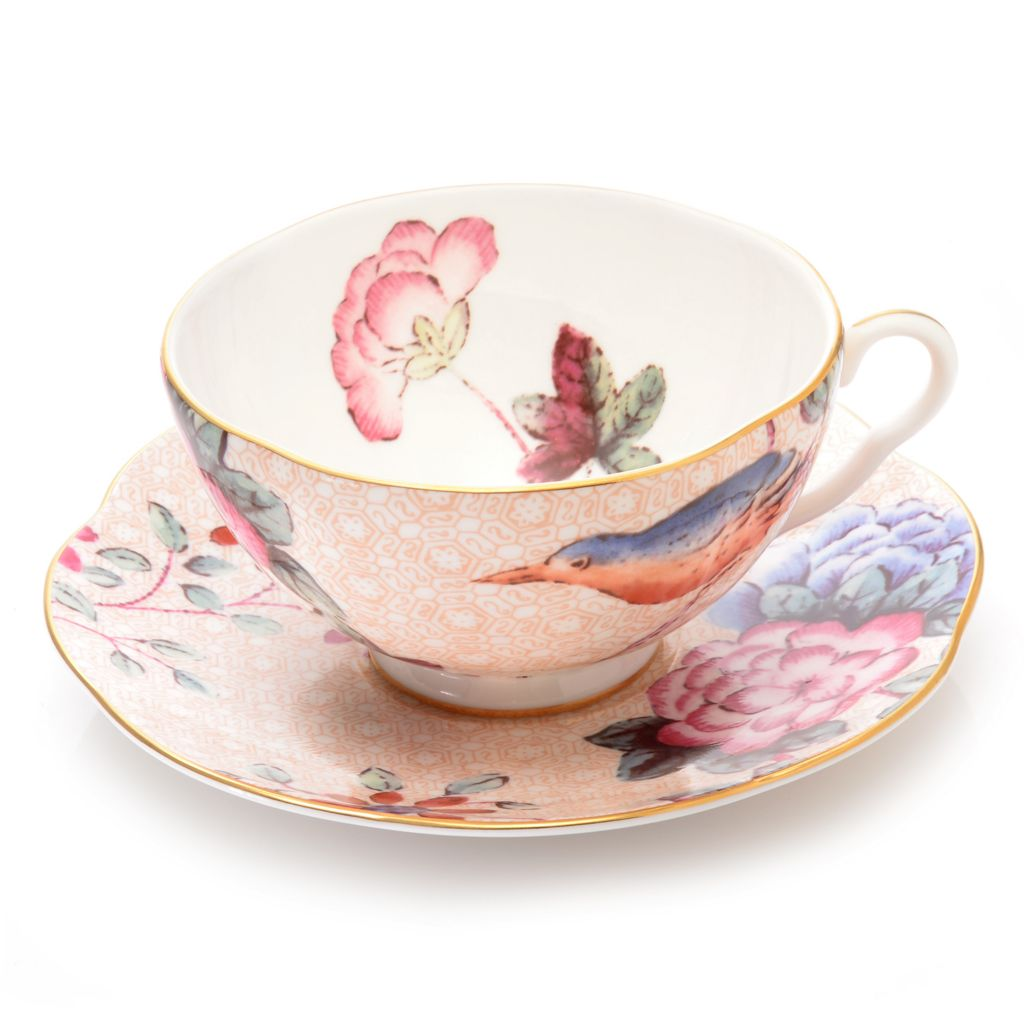 445-171 - Wedgwood® Cuckoo Two-Piece Bone China 22K Gold Plated Teacup & Saucer Set