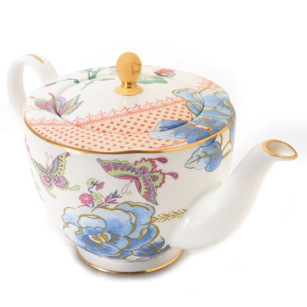 445-174 - Wedgwood® Butterfly Bloom 32 oz Bone China 22K Gold Plated Teapot w/ Lid