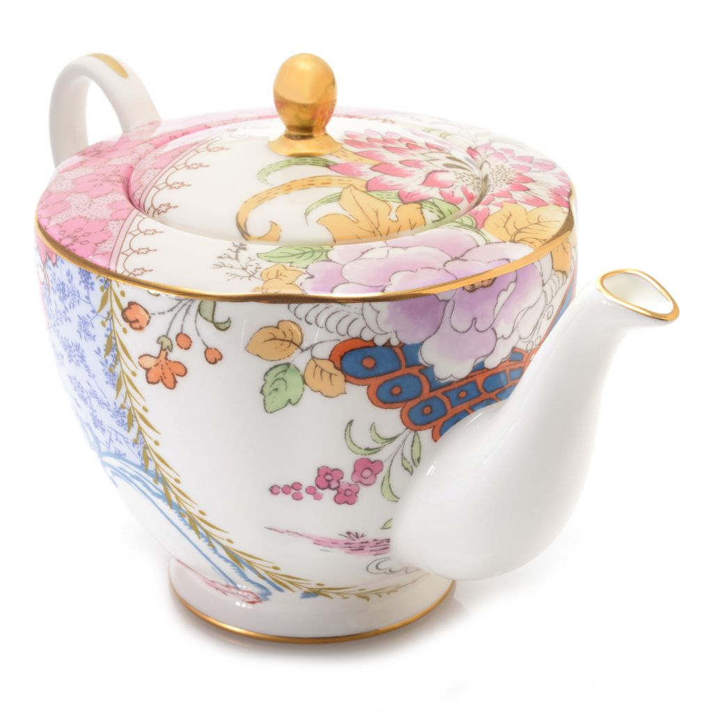 445-175 - Wedgwood® Butterfly Bloom 16 oz Bone China 22K Gold Plated Teapot w/ Lid