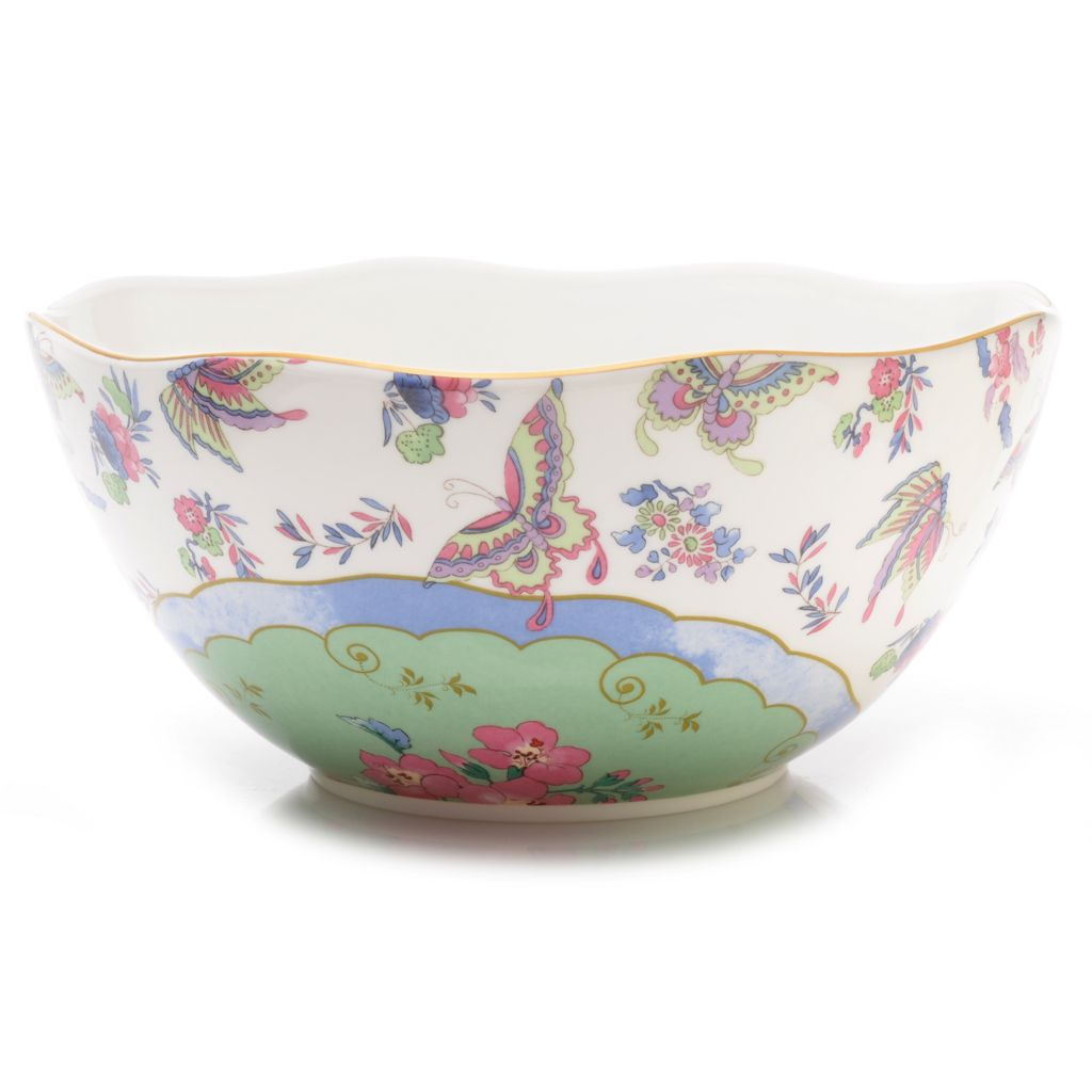 "445-176 - Wedgwood® Butterfly Bloom 10"" Bone China 22K Gold Plated Serving Bowl"