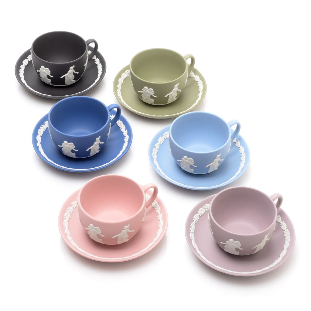 445-184 - Wedgwood® Dancing Hours 12-Piece Handmade Jasperware Cup & Saucer Set