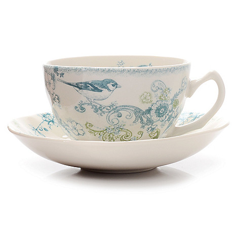 445-189 - Johnson Brothers® Vintage Charm Two-Piece Stoneware Teacup & Saucer Set