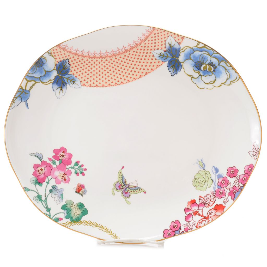 "445-191 - Wedgwood® Butterfly Bloom 13.5"" Bone China 22K Gold Plated Oval Platter"