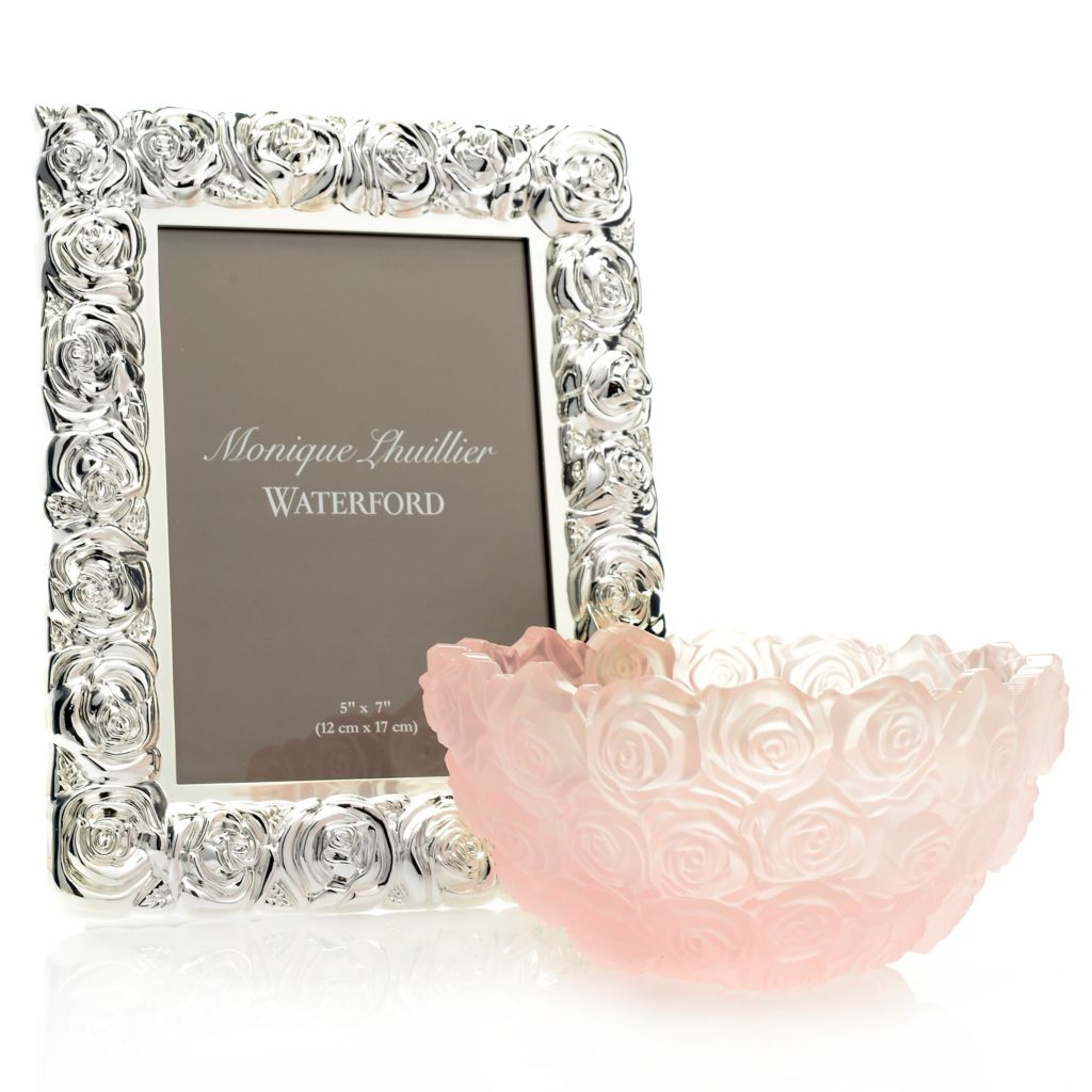 "445-234 - Waterford® Monique Lhullier Sunday Rose 2-Piece 7"" Bowl & 5"" x 7"" Frame Set"