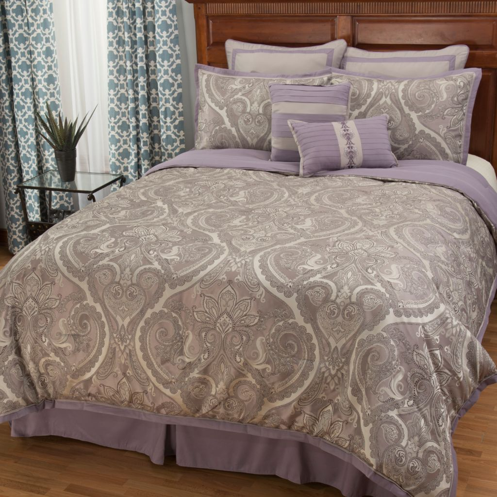 445-244 - North Shore Linens™ Paisley Jacquard Eight-Piece Bedding Ensemble