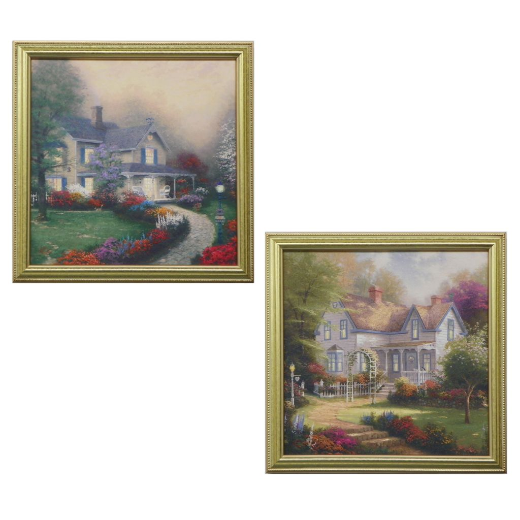 "445-264 - Thomas Kinkade ""Home is Where the Heart Is"" Set of Two Framed Textured Prints"