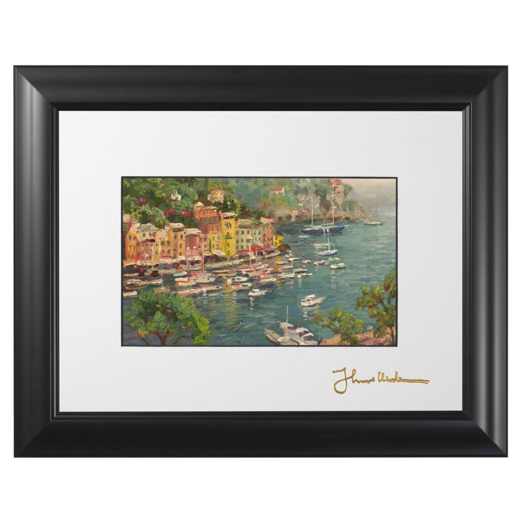 "445-266 - Thomas Kinkade ""Portofino"" Framed Print w/ Easel Stand"