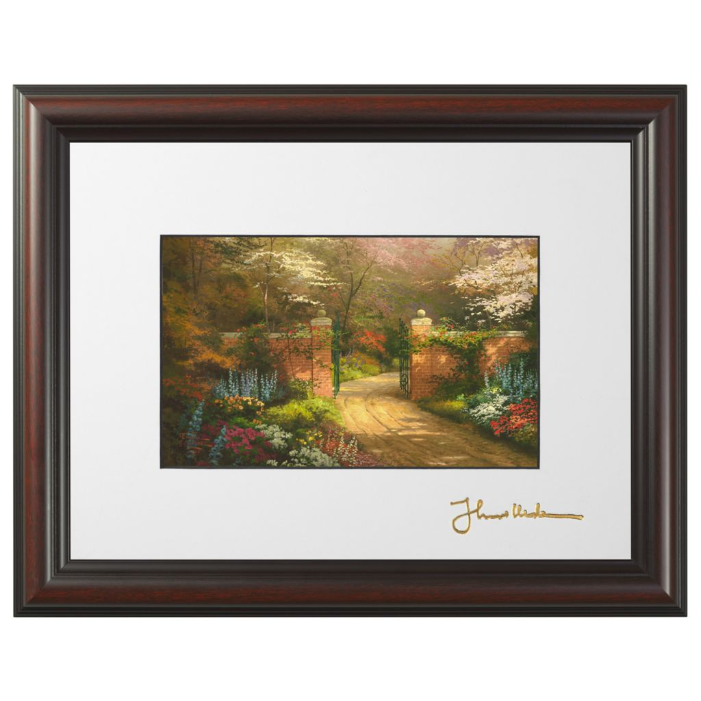 "445-267 - Thomas Kinkade ""Gate of New Beginning"" Framed Print w/ Easel Stand"