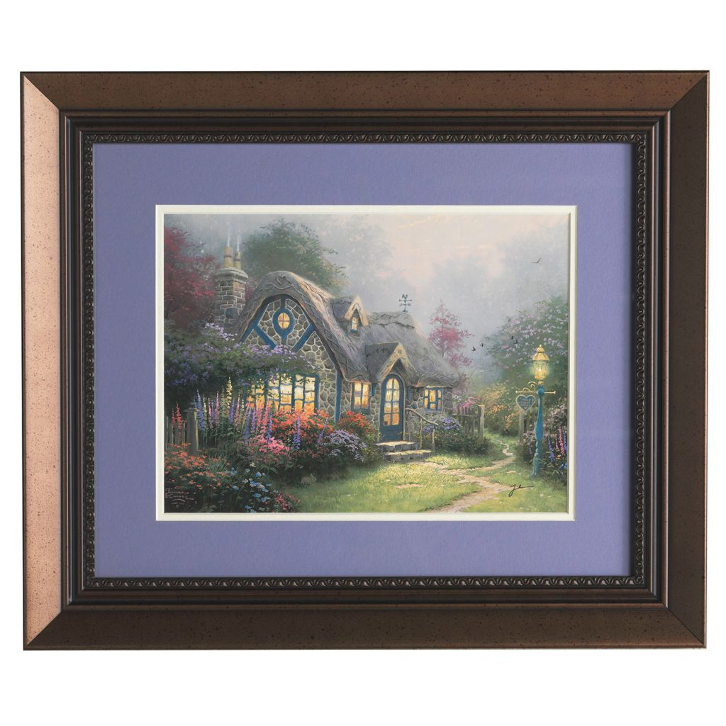 "445-271 - Thomas Kinkade ""Candelight Cottage"" Framed Print - Signed"