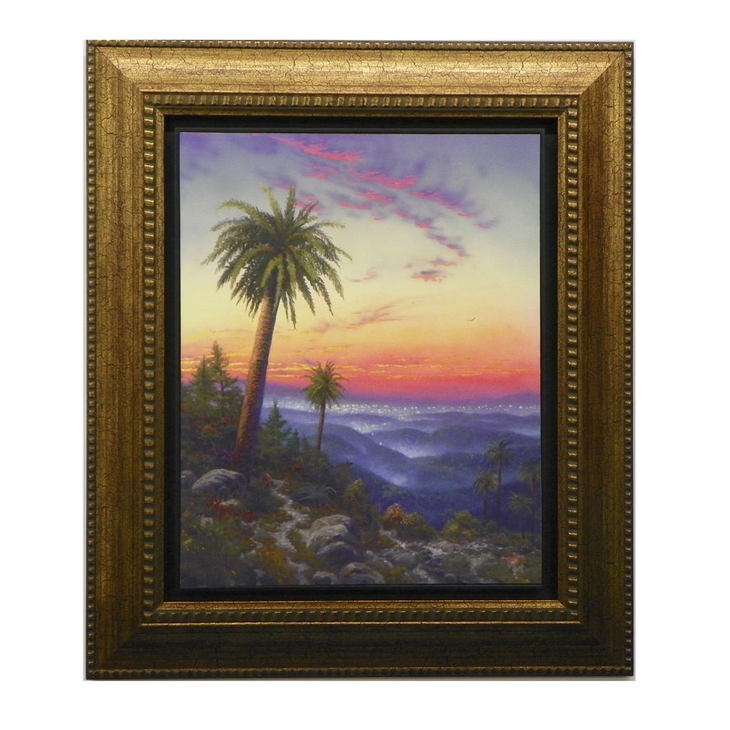 "445-273 - Thomas Kinkade ""Desert Sunset"" Floating Textured Framed Print"