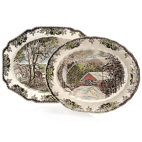 445-319 - Johnson Brothers® Friendly Village Two-Piece Earthenware Platter Set