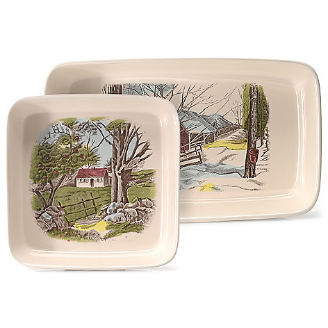 445-326 - Johnson Brothers® Friendly Village Two-Piece Earthenware Baker Set