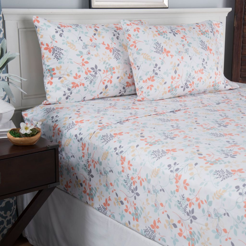 445-345 - North Shore Linens™ 400TC 100% Cotton Printed Four-Piece Sheet Set